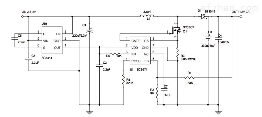 sc3671-5升30v12升24v专业升压ic大功率