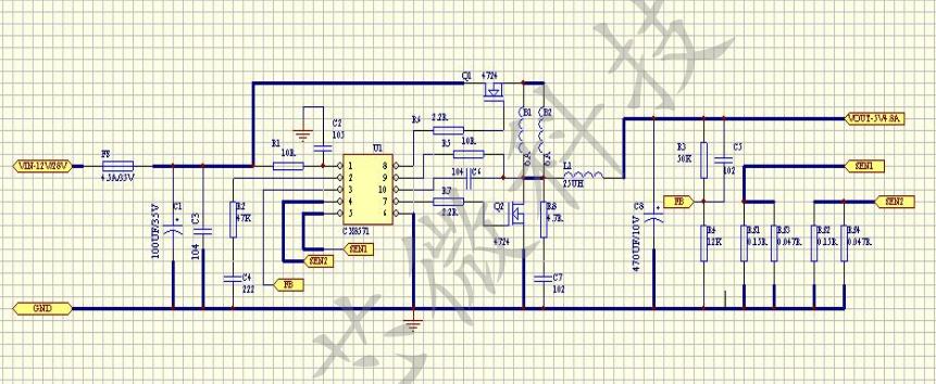 二、特性 电压输入范围:9~40V 输出电压精度:2% 双通道CC/CV模式 双通道外部限流 过温保护(OTP) 内置软启动时间3ms 固定频率120KHz 输入欠压保护(zui小7V,典型7.5V,zui大8V) 占空比范围:0~90% 一个引脚即可实现外部补偿和关断控制 输出可使用陶瓷电容 内置可调整的线压补偿 MSOP-10封装